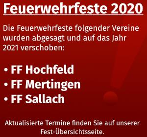 Information zu Feuerwehrfesten im Jahr 2020